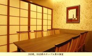 8名様、16名様のテーブル席の個室